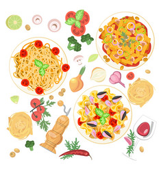 italian pasta dishes vector image