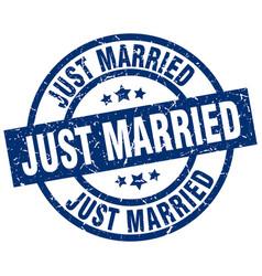 Just married blue round grunge stamp vector