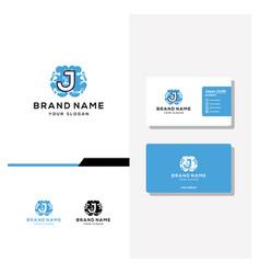 Letter j brain logo design and business card vector