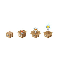 Lightbulb in the box vector image