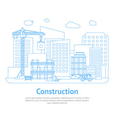 line constructions building on background of city vector image