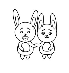 Line cute couple rabbit wild animal with beautiful vector