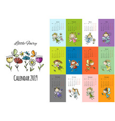 Little fairies calendar 2019 design vector