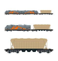 Locomotive with hopper car on railroad platform vector