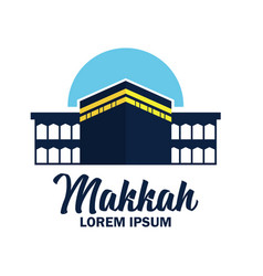 Makkah kaaba hajj omra logo with text space vector