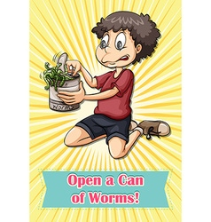 Man opening worms can vector
