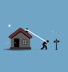 mortgage refinancing loan man dragging his house vector image