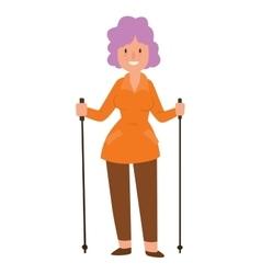 Nordic walking sport character vector image