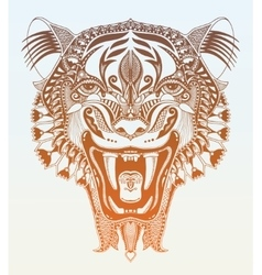 original head tiger drawing with the opened fall vector image