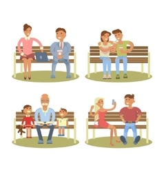 People are sitting on a bench vector