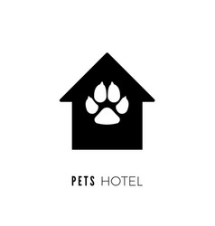 Pet hotel icon logo for pet hotel black house vector