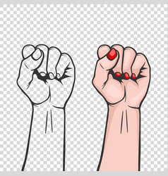 Raised women s fist isolated - symbol unity or vector