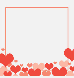 red hearts love frame background card banner vector image