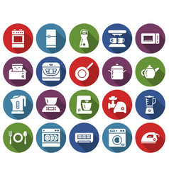 Round icons set some kitchen utensils and home vector