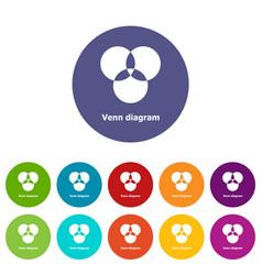 Round venn diagram icons set color vector