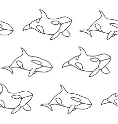 seamless pattern killer whale in outline style vector image