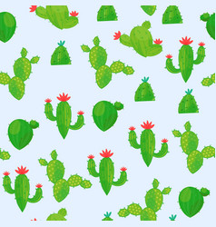 seamless pattern of a variety of abstract cacti on vector image