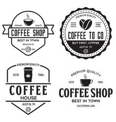 set coffee shop logotype templates coffee vector image