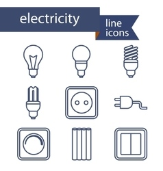 Set line icons for diy electricity tools vector