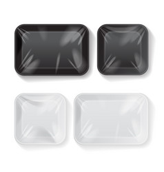 set of blank black and white styrofoam plastic vector image