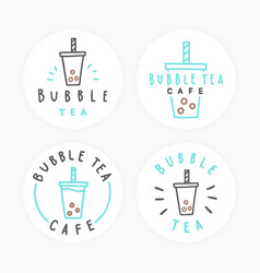 Set of bubble tea badges vector