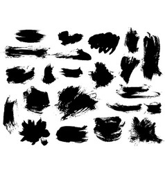 Set of bushy small black brushstrokes vector