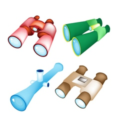 Set of Four Style Binoculars vector image