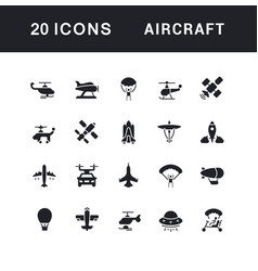 set simple icons aircraft vector image