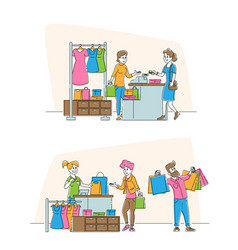 Shopping sale and discount set happy male vector