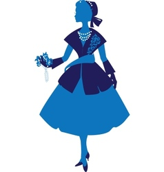 Silhouette of an elegant woman dressed in the vector image