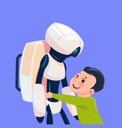 small boy playing with modern robot futuristic vector image