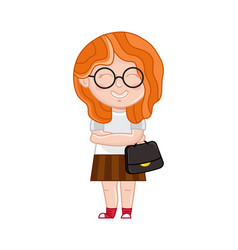 Smiling little girl in glasses with ladies bag vector