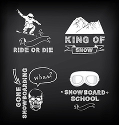 Snowboarding winter sport icon set vector image