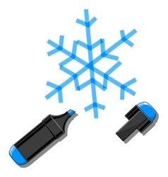Snowflake and marker vector image