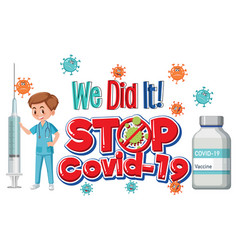 stop covid19-19 logo or banner with a doctor vector image