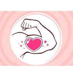 strong man hand with icon of heart on pi vector image
