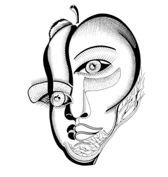 Surreal hand drawing faces vector image