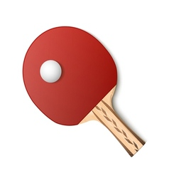 Table tennis red racket and ball vector image