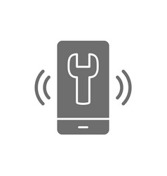 Telephone with wrench helpdesk grey icon vector