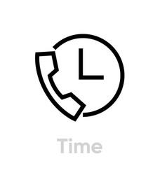 Time call icon editable line vector