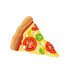 triangle slice of pizza with tomatoes cucumbers vector image