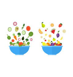 vegetable bowl fruit bowl salad with fresh vector image