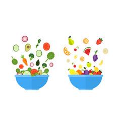 Vegetable bowl fruit bowl salad with fresh vector