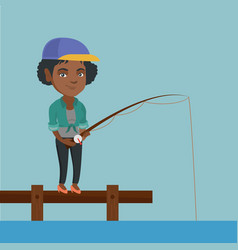 Young african-american woman fishing on jetty vector