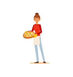 Young woman holding a pizza housewife girl vector