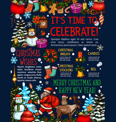 christmas new year sketch greeting card vector image vector image