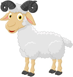 Cute cartoon sheep character vector image