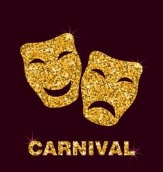 Golden Glittering Carnival Mask vector image vector image
