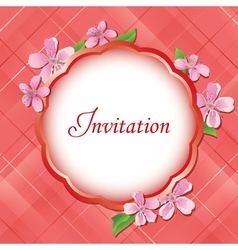 pink floral invitational card vector image vector image