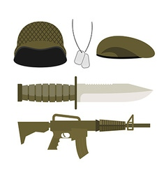 Set Army Military icon Soldiers helmet and badge vector image